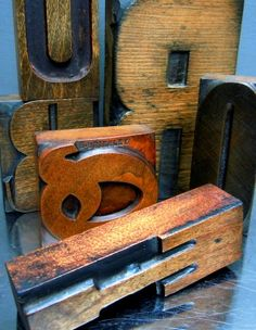 Antique Wooden Letterpress Print Blocks