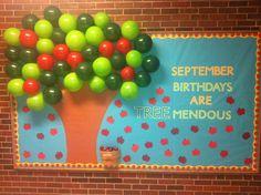 Birthdays are tree-mendous! September Bulletin Boards, Office Bulletin Boards, Calendar Bulletin Boards, Summer Bulletin Boards, Birthday Bulletin Boards, Birthday Board, Preschool Boards, Preschool Crafts, Preschool Ideas
