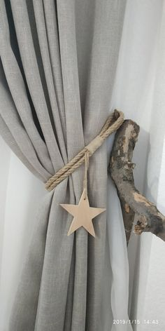 Rope Curtain Tiebacks with Wooden Star, Nursery Curtain Tie Back, Boho Decor, Jute Curtain Tie Backs Curtain Tie Backs Diy, Rope Curtain Tie Back, Curtain Ties, Hang Curtains Like A Pro, How To Make Curtains, Rustic Curtains, Linen Curtains, Beaded Curtains, Boho Decor