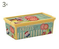 Set de 3 cajas de almacenaje Vintage Sweets, amarillo - XS