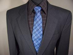 MINTJos A Bank 43L mens Black striped  Wool 2 button Sport Coat Blazer Jacket #JosABank #TwoButton