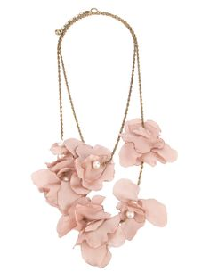 """""""LANVIN Silk Flower Necklace"""" - [Light pink necklace featuring a brass small link chain, a back clasp fastening, petrol blue silk flower details & small silver-tone glass beads.]~[Designer & Founder of Spinnaker: Lorenza Betti]~[*Lorenza Betti* opened the first boutique in the seventies in the coastal town of Alassio, Italy. Today Spinnaker represents one of the most fashionable names in Italian luxury retailing.]'h4d'"""