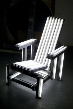 Available for sale from Paul Kasmin Gallery, Iván Navarro, Metal Electric Chair Fluorescent light, metal fixtures and electric energy, 45 × 31 … Modern Desk Chair, Electric Chair, Lights Artist, Rustic Chair, Political Art, Outdoor Chairs, Outdoor Decor, Light Installation, Stage Design