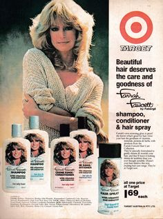 Farrah Fawcett Fan Page Retro Advertising, Retro Ads, Vintage Advertisements, Vintage Ads, Farrah Fawcett, Divas, Retro Makeup, Bionic Woman, Funny Ads