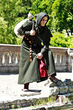 SALE Woolen Medieval Mens Coat with Hood One size only