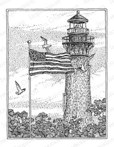 Impression Obsession Rubber Stamps Currituck Lighthouse with Flag