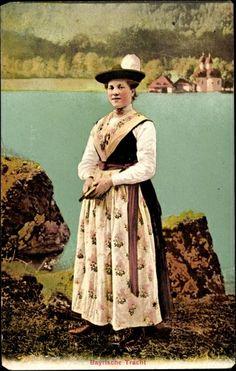 Bayrische Tracht, Postkarte, 1865