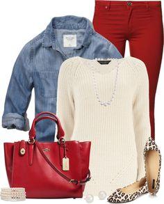 Stitchfix* *red pant  Denim Shirt Layered Fall Outfit Outfitspedia