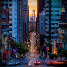 Looking down San Francisco's California Street towards the Bay Bridge. Description from pinterest.com. I searched for this on bing.com/images