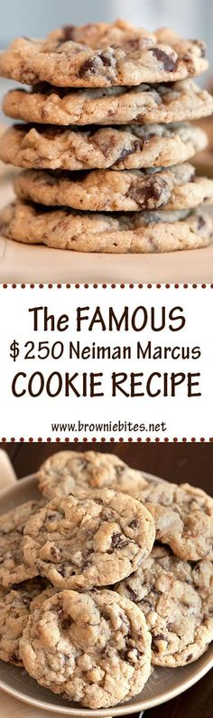 The famous 250 Neiman Marcus Cookie Recipe Who doesnt love a good urban legend Recipes are so much more fun when theres a good story behind them And on top of that these. Chocolate Chip Cookies Rezept, Cookies Receta, Brownie Cookies, Cookie Desserts, Yummy Cookies, Dessert Recipes, Brownie Bites, Chocolate Chips, Chocolate Cupcakes