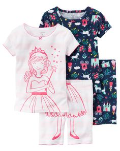 Baby Girl 4-Piece Snug Fit Cotton PJs In coordinating prints, this 4-piece set includes two tops, pants and shorts that can be mixed and matched for a variety of comfy bedtime options! Carter's cotton PJs are not flame resistant. But don't worry! They're designed with a snug and stretchy fit for safety and comfort. Carter's polyester is safe and flame resistant. But is it chemically treated? No way!