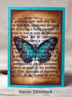 Artist Trading Card by Karen Dimmock using Darkroom Door Butterflies Rubber Stamp Set. http://www.darkroomdoor.com/rubber-stamp-sets/rubber-stamp-set-butterflies