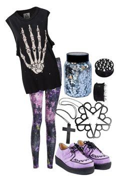 """Another pastel goth set? Why sure!"" by jewia-hillsss ❤ liked on Polyvore featuring UNIF, sad, goth, pastel, pastelgoth and creepers"