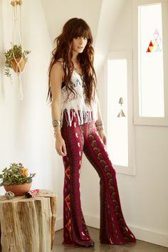 Love her bohemian pants super cute!
