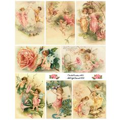 I love these sweet pastel colored fairies! Perfect for card making, ATCs, altered books, assemblage art, tags, fabric transfer or whatever your muse dictates. I use these images in my own artwork, so each has been carefully selected with an eye for their potential. Resolution will be MUCH BETTER than what you see here, these photos have been optimized to load quicker. And, of course, your collage sheet images will not be watermarked.  This downloadable version will be available to you…