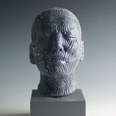 Ceramic Blue Head by Takahiro Kondo Sculptures, Lion Sculpture, Clay Tiles, What To Make, Work Inspiration, Face Art, Faces, Carving, Statue