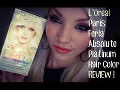 L'Oreal Paris Feria Absolute Platinum Hair Dye REVIEW! - YouTube Platinum Hair Dye, Pure Platinum, Platinum Blonde, Feria Hair Color, Beauty Skin, Hair Beauty, L'oréal Paris, Loreal, Dyed Hair