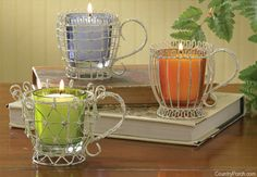 Tea Cup Votive Candle Holders with Glass
