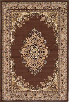 Brown Mashad Design Area Rug