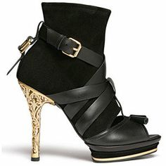 Black Platform Open Toe Bootie With Cross Straps and Gold Filigree Heel