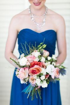 natural hand tied peach and coral bridesmaid bouquet