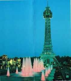 International Street as seen in the 1981 Kings Dominion brochure.  Looks way different without all of those trees!