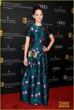 BAFTA Tea Party 2013:Marion Cotillard  -Erdem dress with Christian Louboutin shoes and bag.