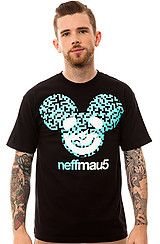 The Neffmau5 Icon Pattern Tee in Black and Turquoise