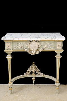 French Antique Marbletop Louis XVI-Style Patinated Console