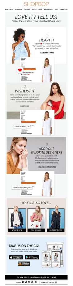 Help your customers navigate your store with instructional CTAs like this one from Shopbop.