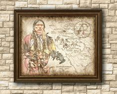 Quanah Parker 1890 watercolor art,Native Americans Comanche,Native Americans Art Decor,Old Map,Wall Art,Poster,Decor,Instant Download