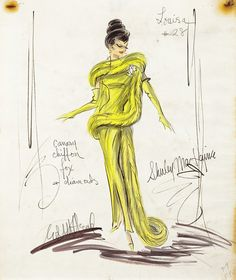 "Edith Head costume sketch for Shirley MacLaine as ""Louisa May Foster"" in What a Way to Go! (1964)"