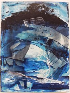 Blue Strata, oil painting on panel