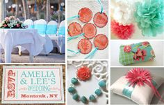 Style Board - Coral and Turquoise Wedding