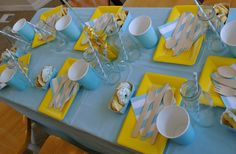 yellow & aqua blue!  Table setting @littlebirdcelebrations http://www.prettymyparty.com/good-morning-sunshine-breakfast-party/