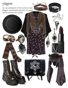 """""""Goth Mori"""" by pixymae ❤ liked on Polyvore featuring Jane Norman, Monki, Datura, 1928, Oasis, Anna Sui, NARS Cosmetics, COS, Una-Home and Zodaca"""