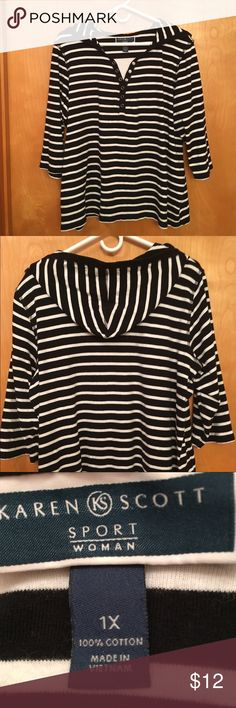 """KAREN SCOTT BLACK & WHITE STRIPED SHIRT WITH HOOD 🌺 VERY COMFORTABLE.....KAREN SCOTT SPORT WOMAN black and white striped shirt, 3/4 sleeve with hood.  **** RUNS BIG..... it is a 1X but it is larger.****  100% COTTON. Details:  machine wash cold gentle cycle, tumble dry low.  Measures:  chest 26"""", length 26 and sleeve length 11"""".  It would be great with a pair of yoga pants.... nothing more comfy.  PERFECT CONDITION!  Stored in a smoke free home. Karen Scott Tops Sweatshirts & Hoodies"""