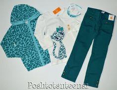 Gymboree Ready Dress Go Leopard Sweater Kitty Top Teal Jeans Set 7 6 NWT sl1-1 #Gymboree