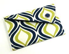 Business Card Holder - Navy Green Geometric Swivel Capri