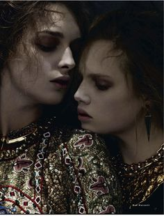 visual optimism; fashion editorials, shows, campaigns & more!: daga ziober and holly rose by ben hassett for vogue russia december 2013