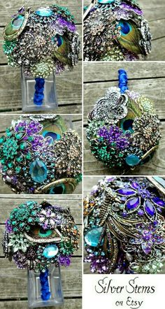 Peacock Brooch Wedding Bouquet with real feathers. My wedding bouquet Peacock Theme, Peacock Wedding, Wedding Flowers, Broach Bouquet, Wedding Brooch Bouquets, Broschen Bouquets, Floral Bouquets, Our Wedding, Dream Wedding