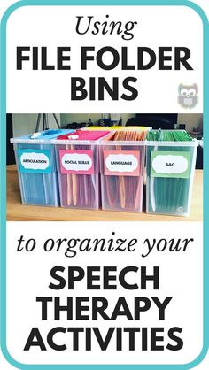 I recently realized that I've never officially shared about my file folder bins that I use to store my all-time favorite materials for speech and language therapy! #slp #organization #speechymusings #speechtherapy