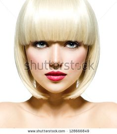 Fashion Stylish Beauty Portrait With White Short Hair. Beautiful Girl'S Face Close-Up. Haircut. Hairstyle. Fringe. Professional Makeup. Make-Up. Vogue Style Woman. Isolated On A White Background. Stock Photo 128666849 : Shutterstock