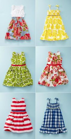 Sewing inspiration for little girl summer dresses - or big girls with a few adjustments.