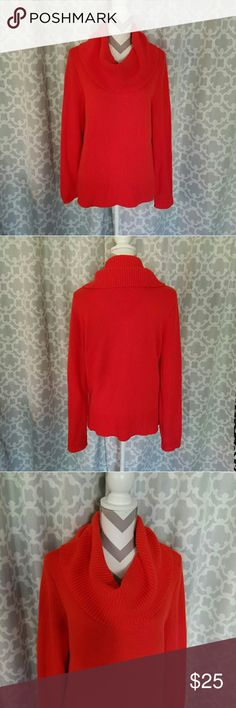 Ralph Lauren Chunky Cowl Neck Sweater! Chunky cowl neck orange sweater. Soft, thick and warm. Length is about 25 inches and armpit to armpit is about 22 inches. Excellent condition! Lauren Ralph Lauren Sweaters Cowl & Turtlenecks