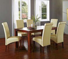 Brilliant Small Dining Tables Sets Furniture With Cream Leather Upholstered  Chair With Red Wood Table Design
