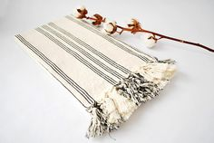 White and Black Striped Throw/ Cozy Couch Throw/ Table Cover/ Yoga Blanket/ Travel Towel/ Oversized Handwoven Scarf/ Beach Cover