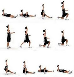 The Turkish Getup - wod 5/15: 14 35 lb kettle bell swings, 7 box jumps Amrap 7 mins= 5 rounds; 10 squat jumps, 1 25lb Turkish getup in each arm, total of 6 rounds. Awesome improvement!  Also did a great dancing pose in one hour bikram today:)
