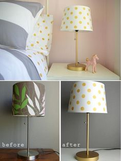 DIY Home Decor: DIY Gold Dot Lampshade---like this idea and could see picking different colors based on the project/room being decorated