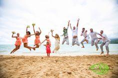 Hawaii Photographer | Oahu Wedding: Kualoa Ranch A great jumping photo on the beach.  www.hawaiiphotographer.com
